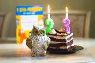 kawałek tortu ze świeczkami